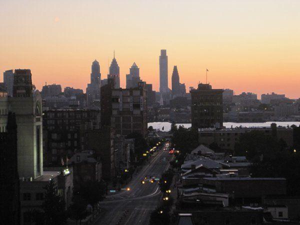 Rooftop View of Philadelphia Skyline.