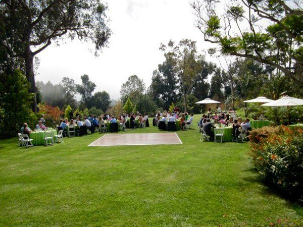 View of dance floor and outdoor reception.