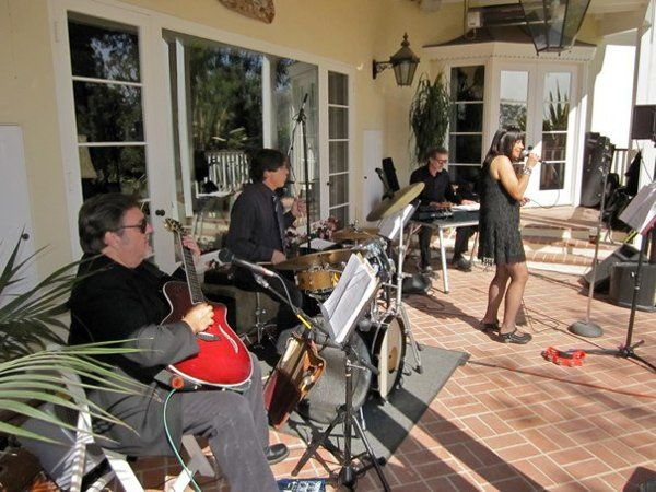 Margie Nelson Jazz Group performing at a wedding reception at a private estate.