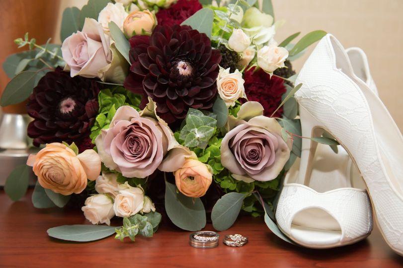 Mauve, burgundy & peach bouquet