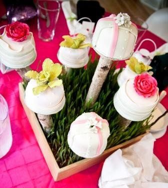 Miniature Cakes Set A-Top Bamboo Boxes with Fresh Grown Grass Displayed as Centerpeices!