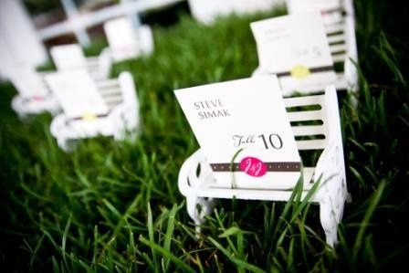 Spring Wedding, Miniature Park Benches utilized for Place Cards