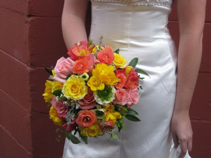 Bright yellow, orange, and pink bouquet