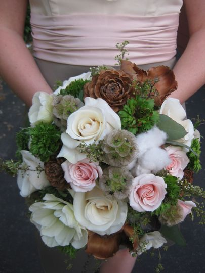 Green, white, and pink bouquet