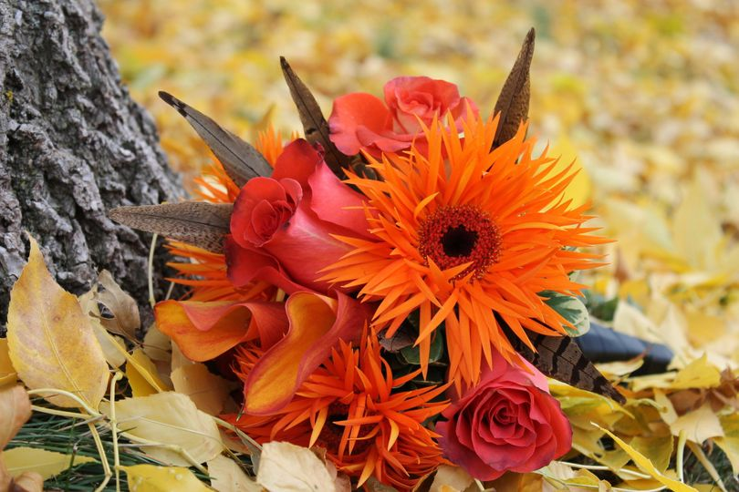 Bright orange and red bouquet