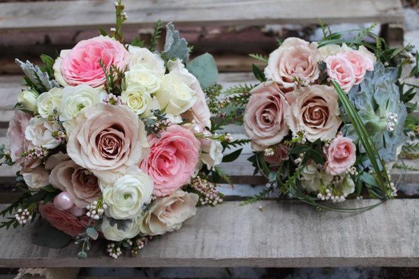 Pink, peach, and white bouquet