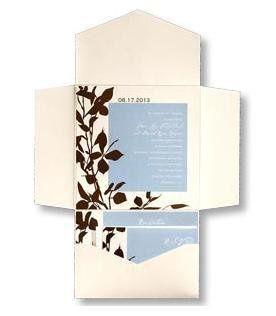 Mocha Leaves and Sky Blue Pocket Wedding Invitation  Description: A white pearlized pocket folder...