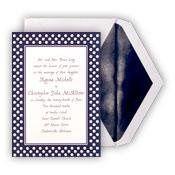 Navy and White Swiss Dot Wedding Invitation  Description: This bright white invitation is...