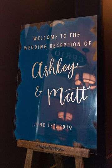 Navy Acrylic Welcome Sign
