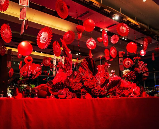 Red decor and lighting