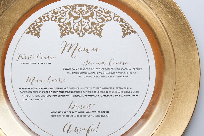 Gold circular menu