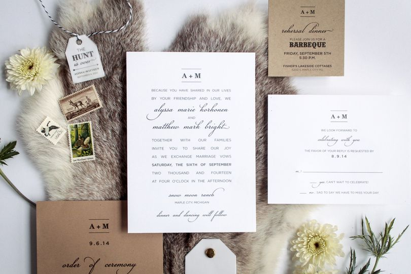 Brown paper invitation