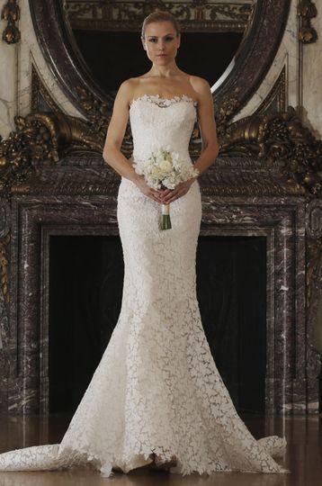 Strapless trumpet style wedding dress