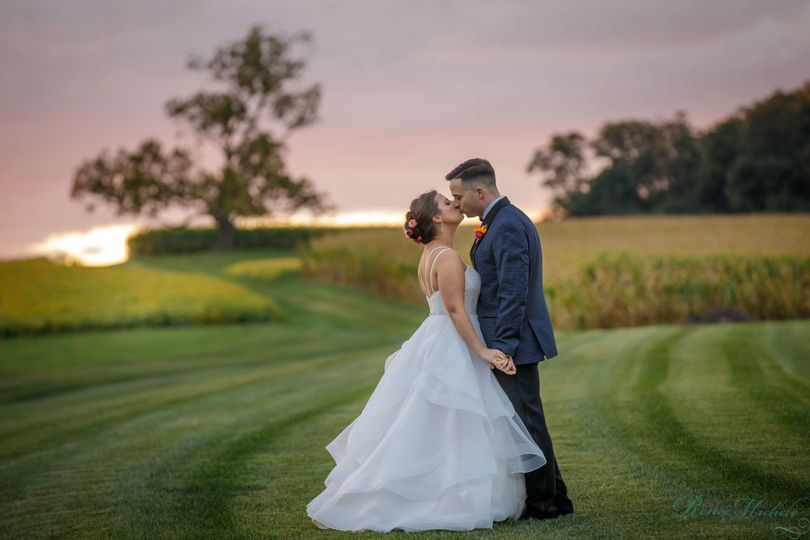 Couple kiss in an open field