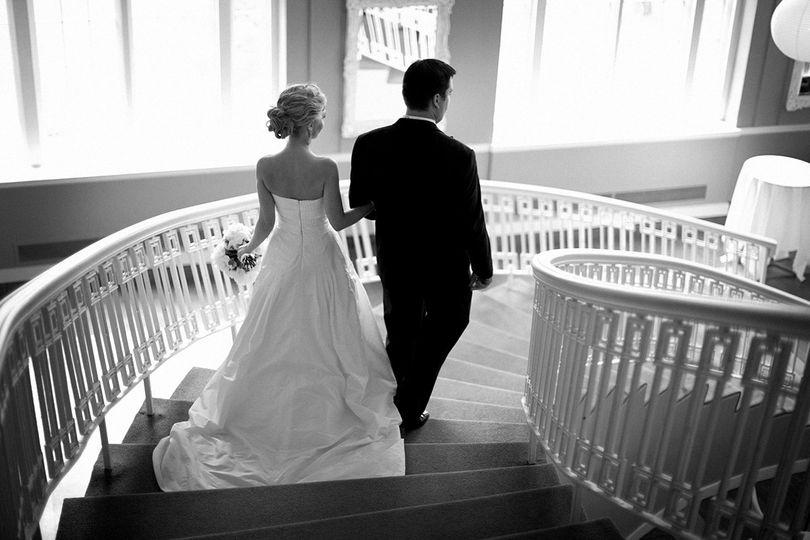 Bride and groom being announced at their reception at the Calhoun Beach Club in Minneapolis