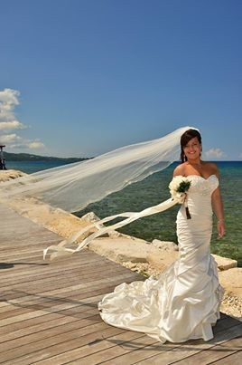 Bride by the boardwalk