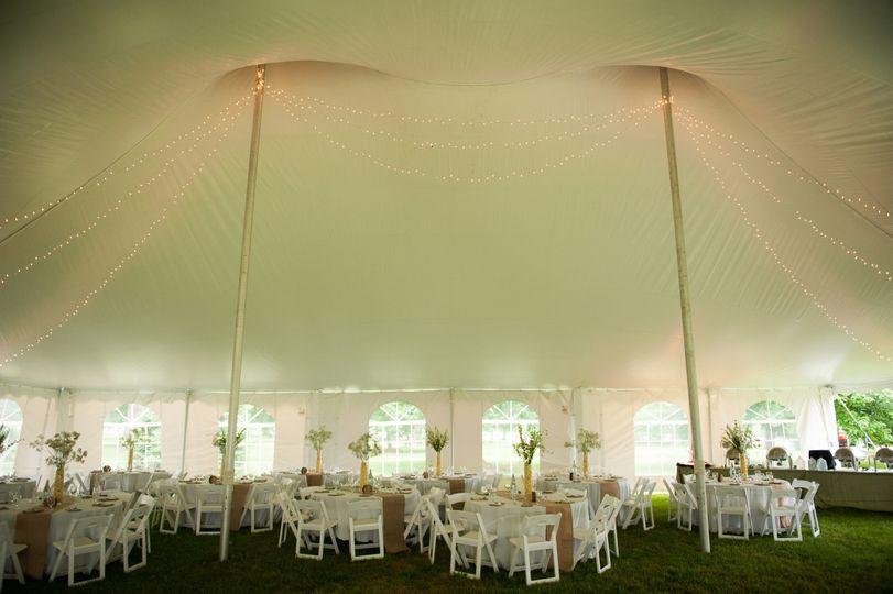 Marquee wedding reception area