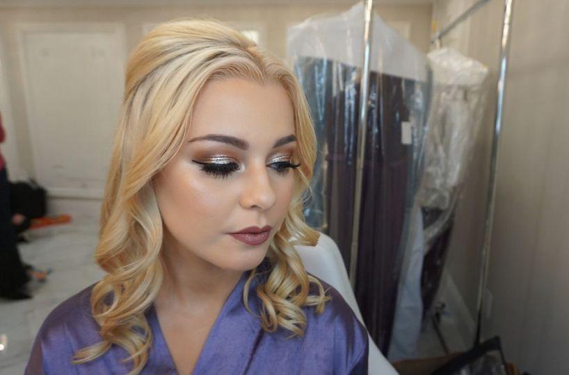 Soft metallic eye makeup