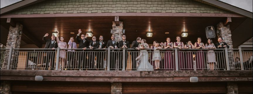 Balcony wedding party