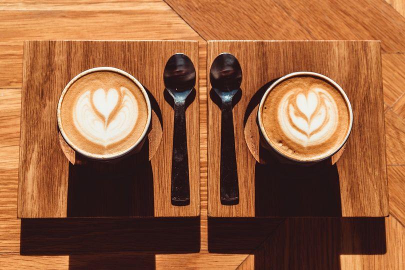 Coffee engagement photos