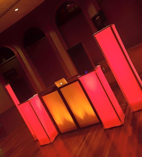 DJ setup by Central Arkansas Entertainment can be customized in any colors!