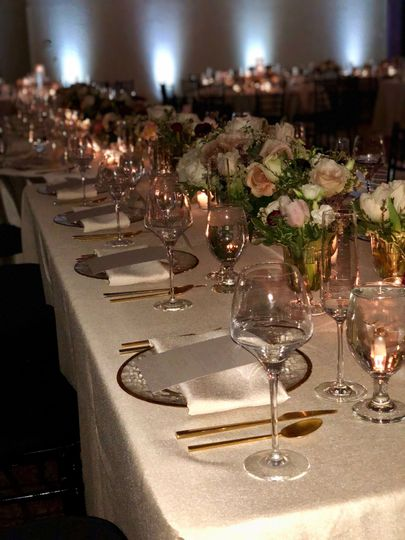 Long table with gold accents