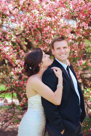 Couple wedding day portrait in the spring. Florida wedding photographer