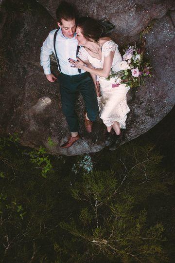 Couple wedding day portrait on a mountain.  Florida wedding photographer