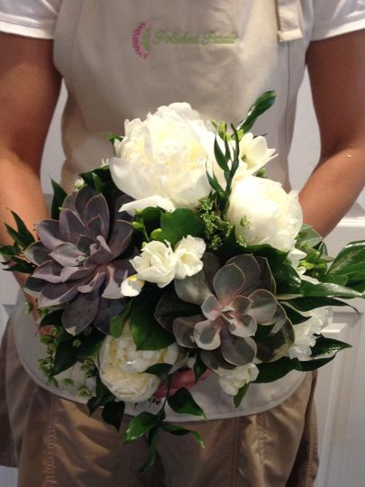 succulent and peony bridal bouquet