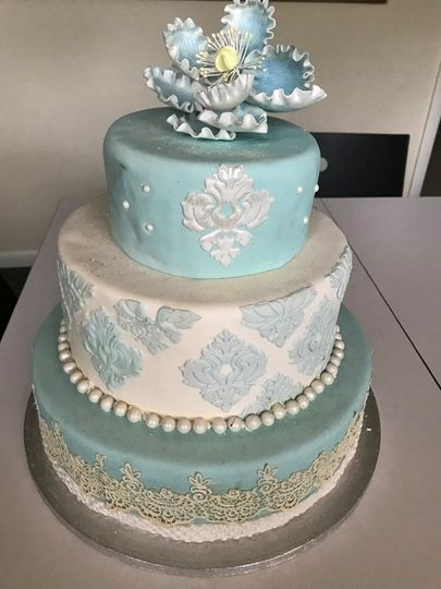 Tiffany blue damask pattern
