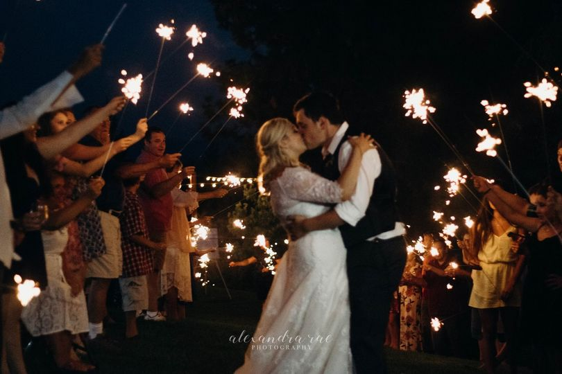 Celebrating the newlyweds with sparklers