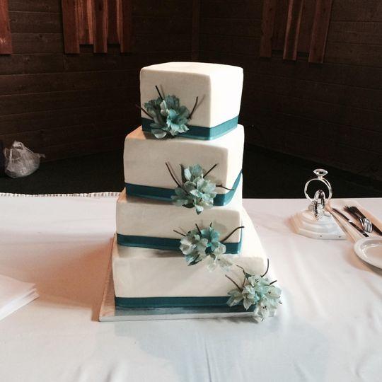A four-tier wedding cake