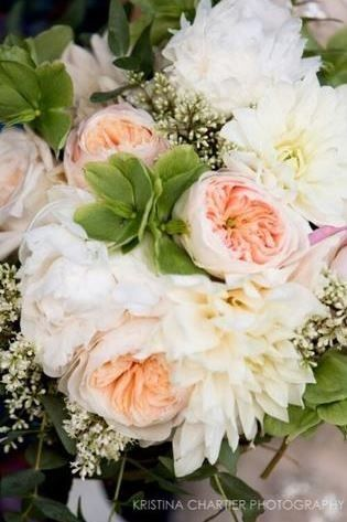Peach and white flowers