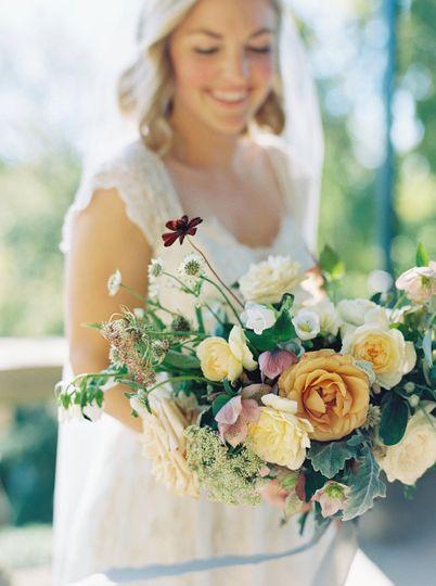 Bouquet with garden roses, hellebores, chocolate cosmos