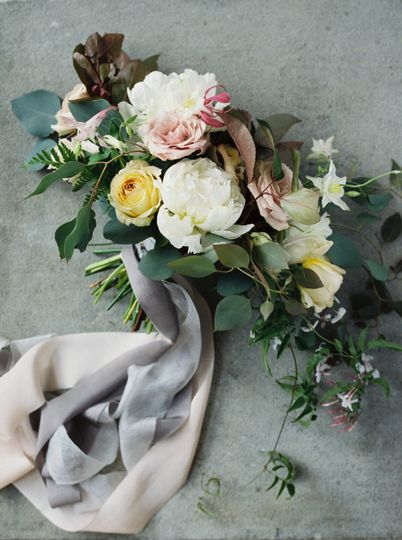 Bouquet with peony, garden rose, jasmine bouquet. Silk ribbons.
