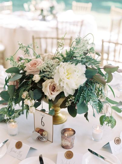 Garden inspired centerpiece with peonies.