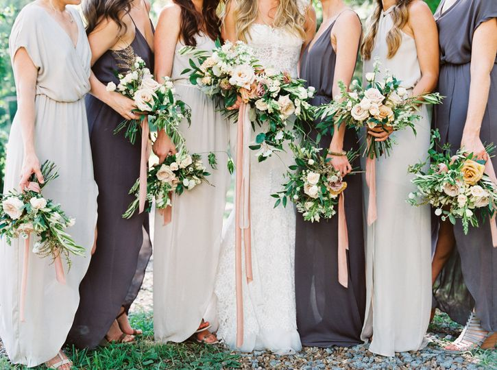 Charcoal and blush bridal party.