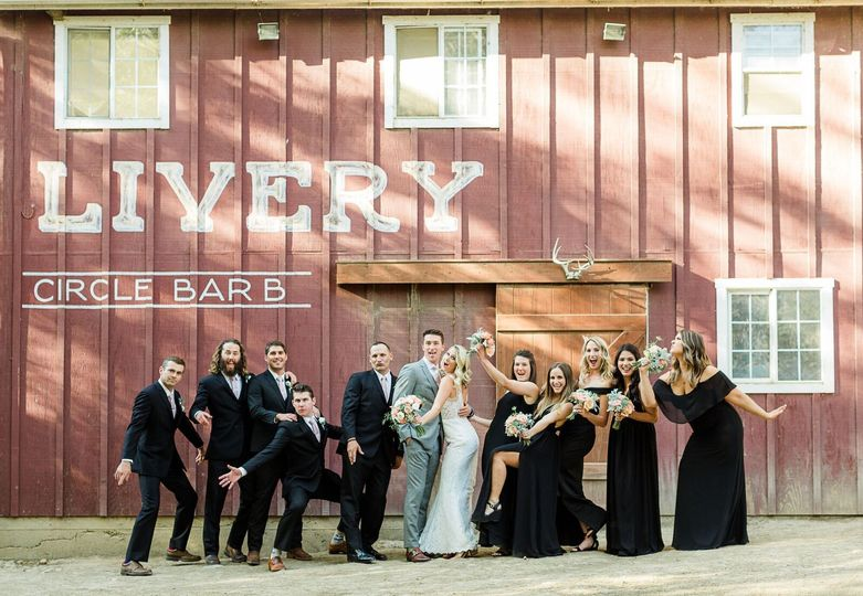 Wedding Party photos at the Circle Bar B Stables