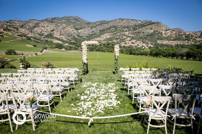 Wedding venue and mountain backdrop