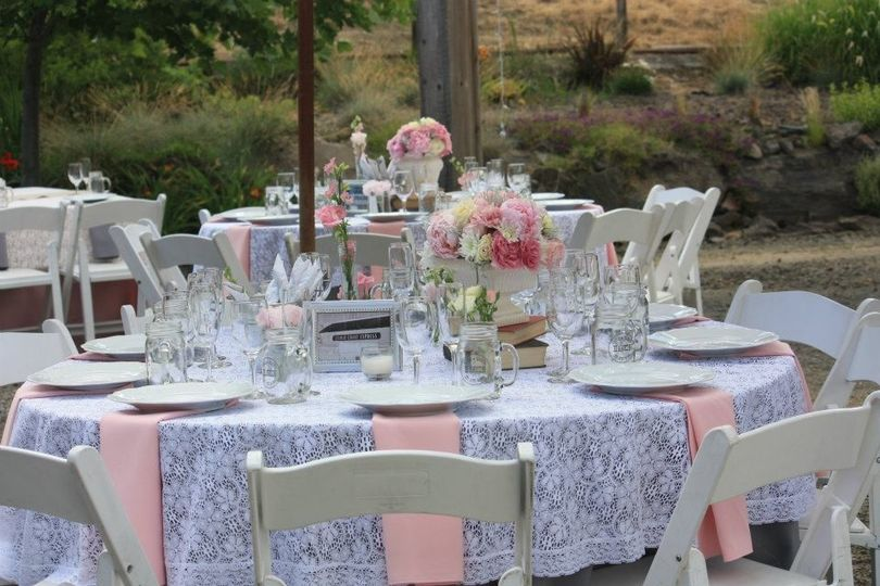lace and pink table setting