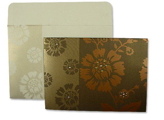 Blooming Rose Brown Orange and Gold Floral and rhinestone designed invitation with matching...