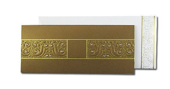 Brown Sugar Metallic Brown and Gold Invitation with White glossy envelope. Envelope is embosed and...