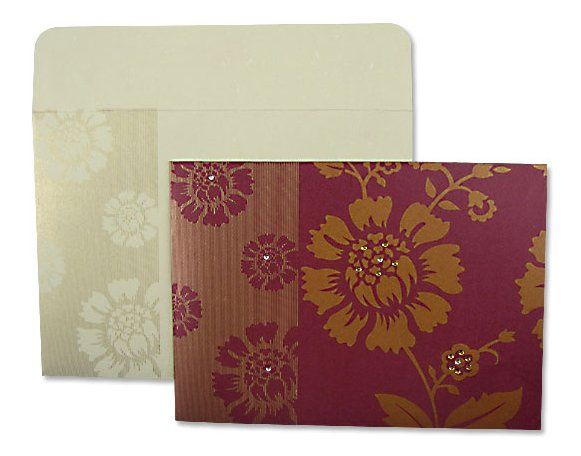 Blooming Rose Burgundy Floral and rhinestone designed invitation with matching envelopes....