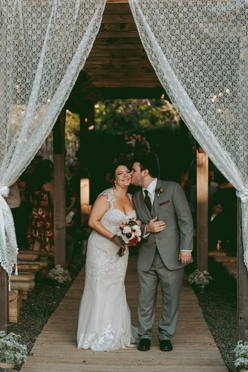 A covered outdoor ceremony