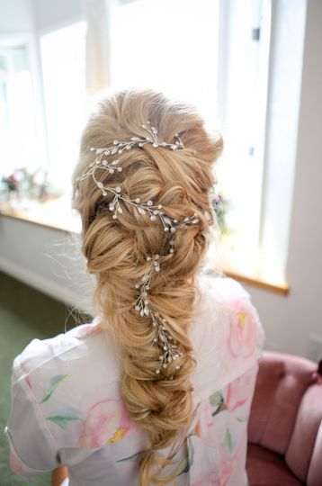 A bejeweled hair accessory