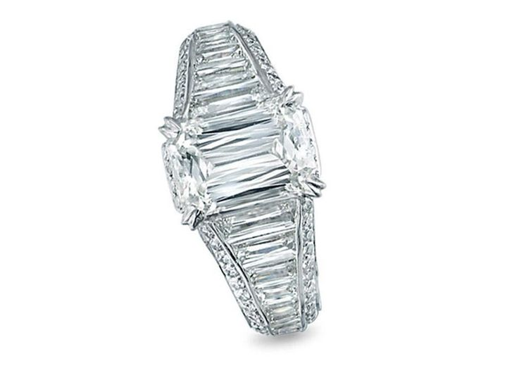 Christopher Designs Platinum With A 3.17 Carat J If Crisscut Center, Crisscut Sides Totaling 2.15...