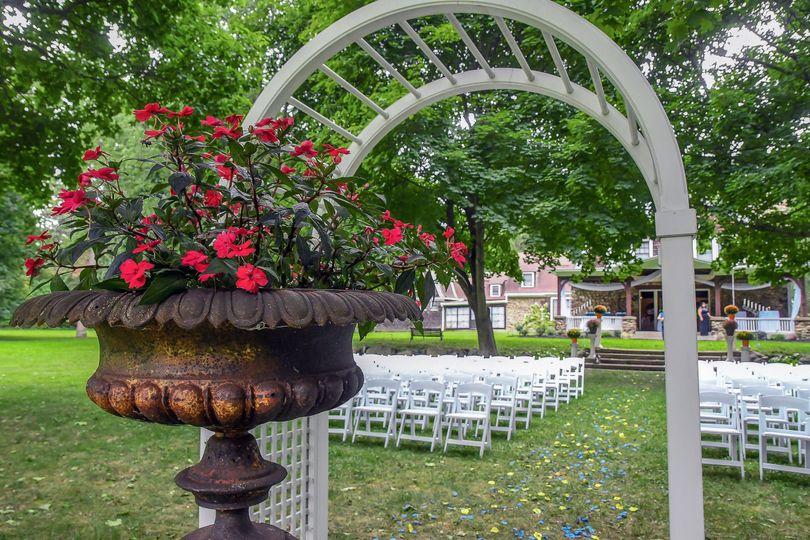 Floral arrangement at the arch