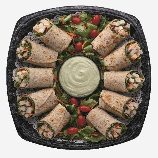 Grilled Chicken Cool Warp Tray  Grilled and sliced chicken breast, nestled in a fresh mix of Green...