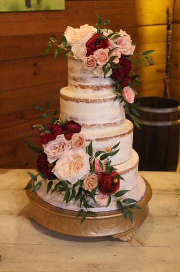 Naked cake with flower decorations