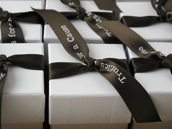 black ribbon chocolate wedding favor